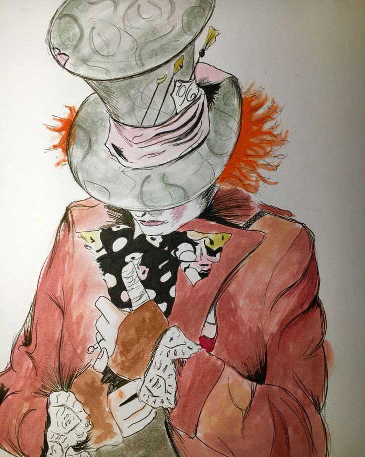 Watercolor study of the Mad Hatter inspired by Alice Through the Looking Glass. Original Artwork. Alice in Wonderland.