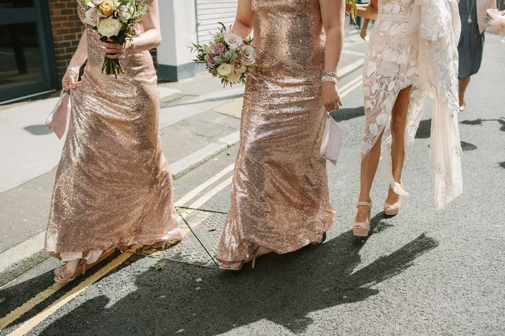 Styling by Jessica | Wedding flowers Cambridge London Essex | Countryside wedding, loose natural wild wedding flowers pastel muted deep shades roses eucalyptus trailing ribbons bridal bouquet shot photography inspo sequin glitter rose gold bridesmaid dresses