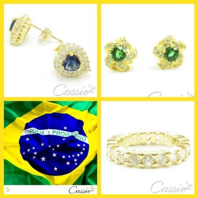 Brasil!! Brasil!! Pra frente Brasil!!! Semijoias folheadas a ouro cravejadas em zircônias. Vários modelos lindos pra você brilhar muito!!! #cassie #semijoias #instafashion #instagood #moda #fashion #cute #vaibrasil #worldcup #brasil