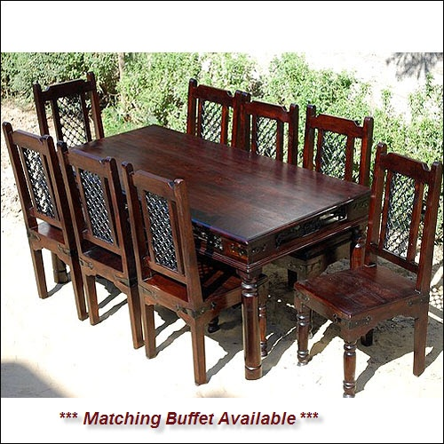 Start A New Tradition With The Philadelphia Mahogany Dining Room Table And Chair Set This Elegant Furniture Incorporates Wrought Iron Into Classic