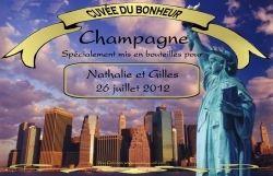Etiquette champagne mariage personnalisée New york