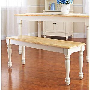 Better Homes and Gardens Autumn Lane Farmhouse Bench, White and Natural, $54.96