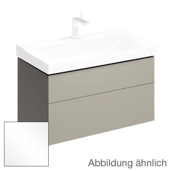 Keramag Xeno² Waschtischunterschrank mit 1 Auszug und 1 Schublade Front weiß hochglanz/Korpus weiß hochglanz
