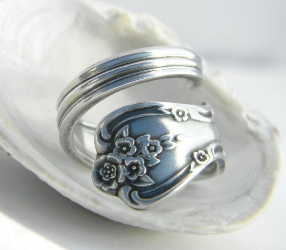 Stunning Vintage Spoon Ring Magnolia Inspiration Silverware Jewelry via Etsy
