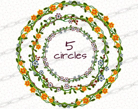Digital download png circle Flower frames. A floral set of borders and frames clip art pixel png's for graphic design of invitation and scrapbooking. https://www.etsy.com/il-en/listing/236920384/instant-digital-download-png-flower?ref=shop_home_active_5