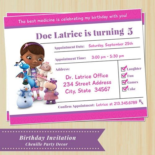 Best Doc McStuffins Birthday Party Images On Pinterest Doc - Birthday invitation template doc