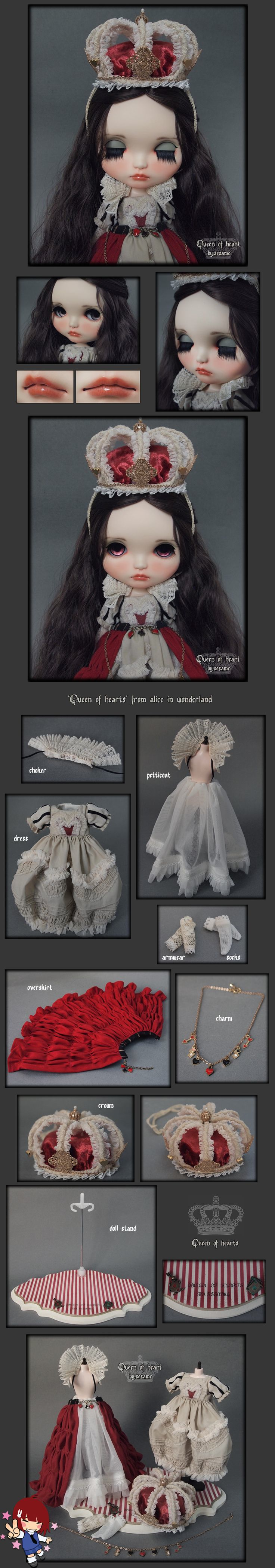 Some Blythe dolls are just to die for, and this is one of them! We have the Queen of Hearts, inspired in Alice in Wonderland. She is an awesome Custom!