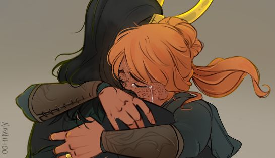 Sigyn hugging Loki wonderfully done by Nanihoosartblog on Tumblr