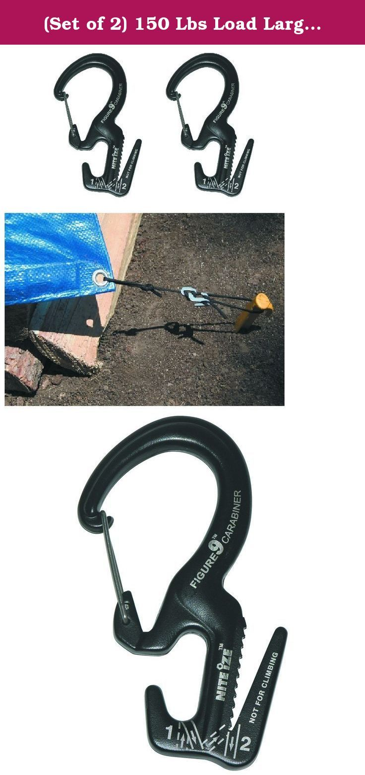 (Set of 2) 150 Lbs Load Large Figure Nine Carbine Carabiner for Rope from 1/8 in. to 3/8 in. Truck Beds SUVs ATVs Camping Tent Tarps. With this figure 9 carabiner, it's easy to secure a load where built-in anchor points are available. For use in truck beds, SUVs, ATVs and more, this carabiner handles rope from 1/8 in. to 3/8 in. with no knots required. With a 150 lb. load capacity, this figure 9 carabiner features an easy release for added convenience. Use in truck beds, SUVs, ATVs, and...