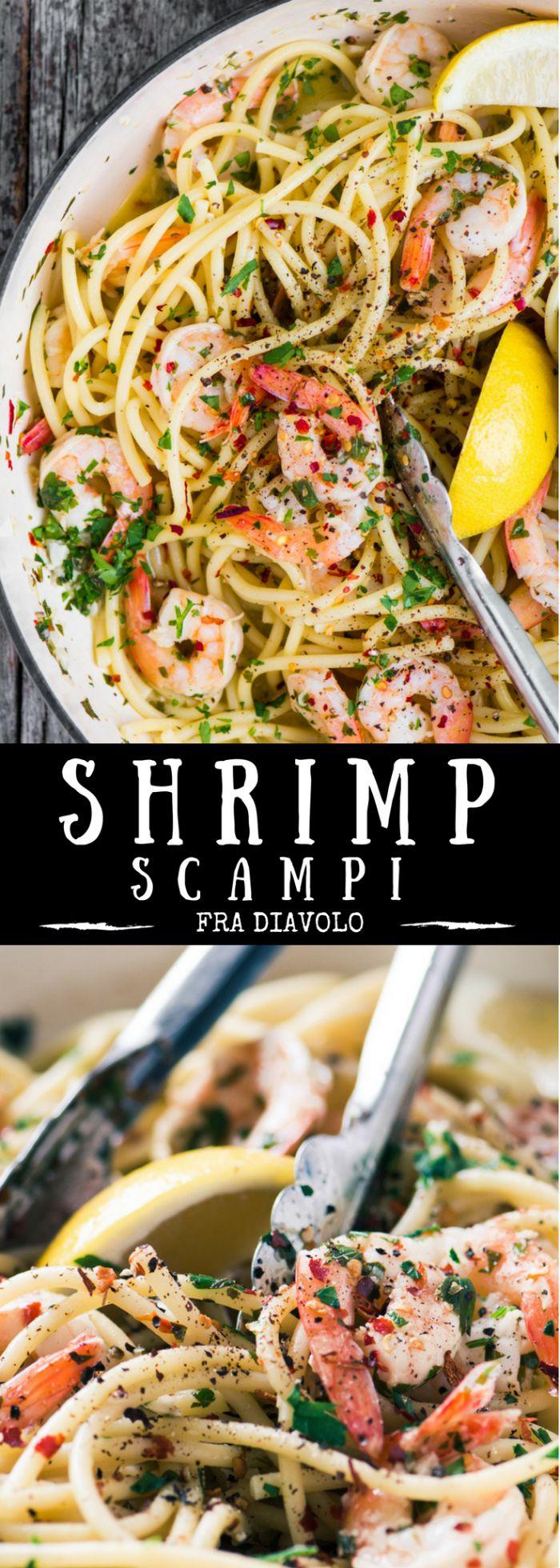 Shrimp Scampi Fra Diavolo ~ Healthy   Frozen Shrimp   Romantic   30 Minute Meal   Italian Pasta ~ theviewfromgreatisland.com
