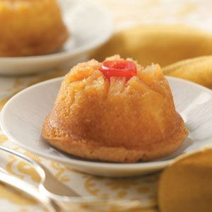 Mini Pineapple Upside Down Cakes **Reduced Fat Recipe**. If you like full flavor replace the 1/3 cup canola oil with 1/2 cup of vegetable oil.  Instead of the small cupcakes, I like to make these in the larger cupcake pans that make 6 at a time. Then top with coolwhip!