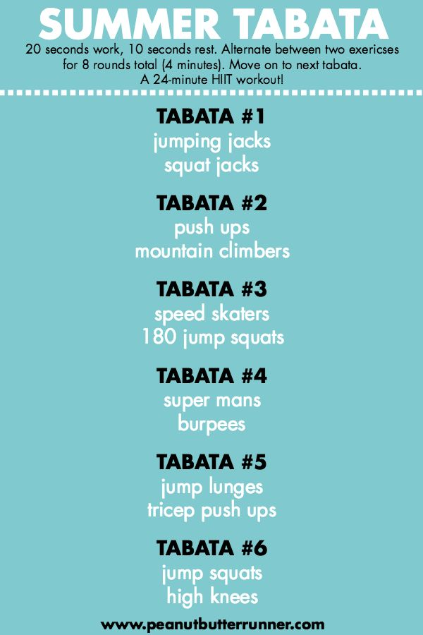 Summer Tabata Workout – a bodyweight tabata workout that can be done at home in …