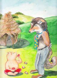 아기돼지와 흐믓한 늑대(수채,과슈,색연필)