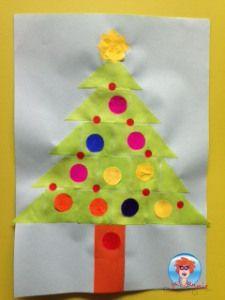 kerstboom-knutselen van vierkantjes en driehoekjes.