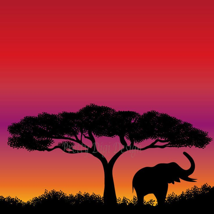 Instant download Africa safari Illustration, Sunset image, Elephant safari, prints for nursery, elephant art poster, kids wall art, png - pinned by pin4etsy.com