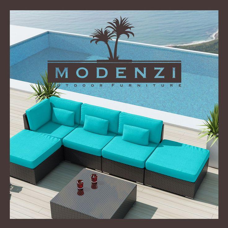 MODENZI DELUXE 6L ALL Weather Modern Outdoor PE Wicker Sofa Patio Furniture Set #MODENZI