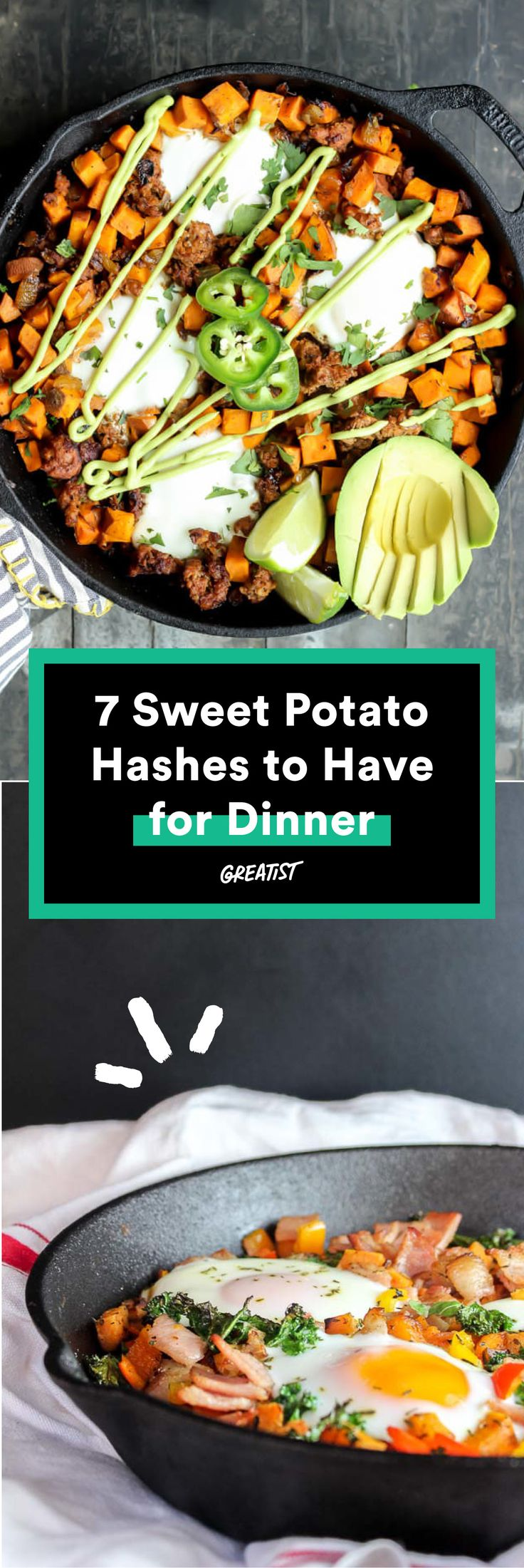 Buh-bye, boring white potatoes. #healthy #sweetpotato #hash #recipes http://greatist.com/eat/sweet-potato-hash-recipes-for-breakfast-or-dinner