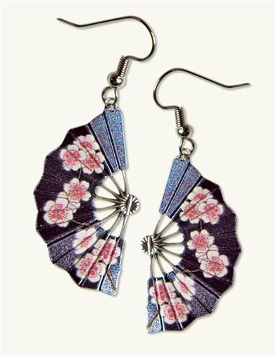 Derived from a painting by a great Japanese landscape artist, silver plated fan earrings are graced with delicate pink cherry blossoms.