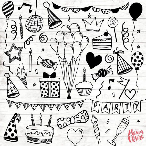 Birthday Party Clipart – 30 Hand Drawn Party Invite Cliparts – Logo Art – Party Invitation Elements – Balloons Illustration – 76 – Christa