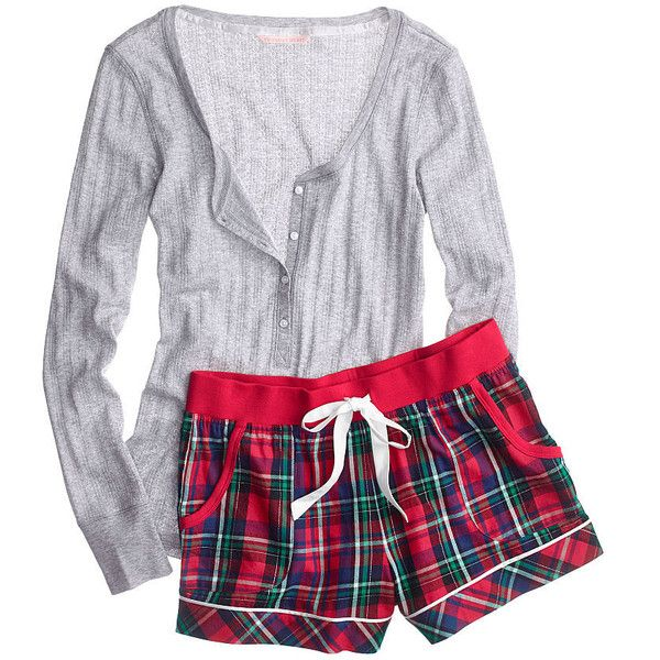 Victoria's Secret Dreamer Flannel Boxer PJ ($45) ❤ liked on Polyvore featuring intimates, sleepwear, pajamas, flannel sleepwear, flannel boxers, print boxers, plaid pajamas and long sleeve pajamas