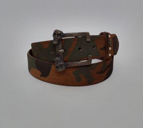 "47"" Skull Camouflage Leather Adjustable Belt, Camouflage Men and Women Jeans Belt - BLT866 - Max size : 47.24"" (120 cm) #handmadeatamazon #nazodesign"