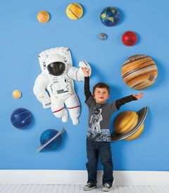 solar system 3-d wall décor - Turn a bedroom or playroom into a space station at the center of our galaxy. Kids can arrange and observe 9 planets and the moon (and hang planet names) on their walls. An astronaut floats along, too. The 3-D pieces of this solar system are hand-cast and hand-painted -- they're cool works of art. Who knows where this will take a kid's imagination.