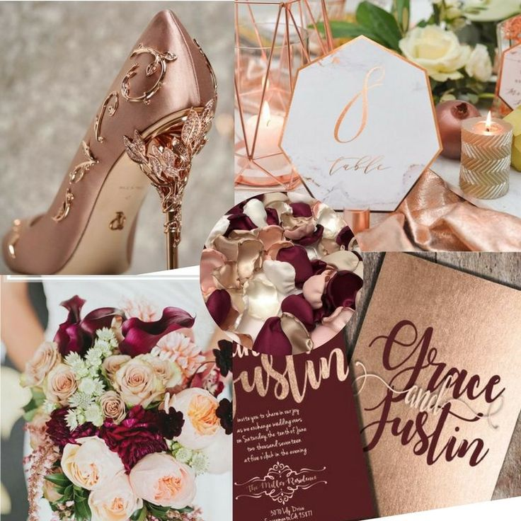 Burgundy and Rose Gold Wedding Vision Board - J'aime Events