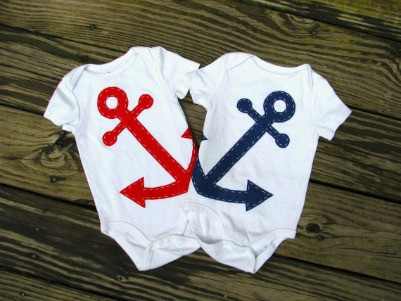 so cute for twin boys: Anchors, Twin Baby, Navy Baby, Baby Boys, Nautical Baby, Future Baby, Baby Clothing, Onesies, Twin Boys