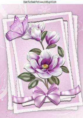Pretty lilac Magnolia with butterfly and bow in frame A4 on Craftsuprint - Add To Basket!