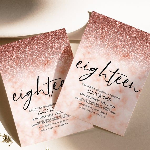 Editable 18th Birthday Party Invitation 18th Invite Rose Gold Glitter Marble Instant Download Editable In 2021 18th Birthday Party Rose Gold Invitations 18th Birthday