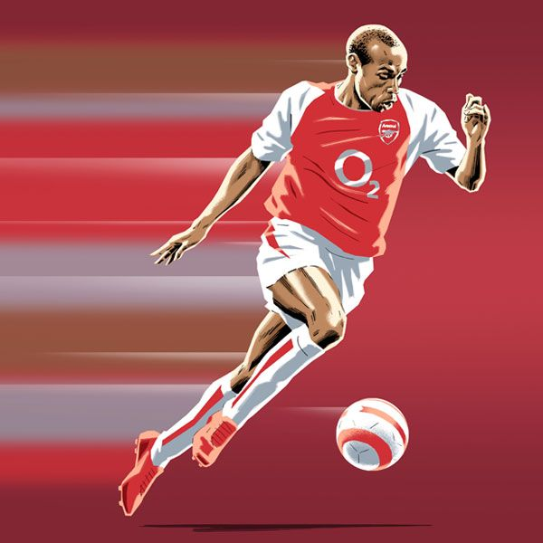 Thierry Henry (Arsenal) in speedy running action http://www.thefootballartist.com/section694065.html#photos_id=12838141