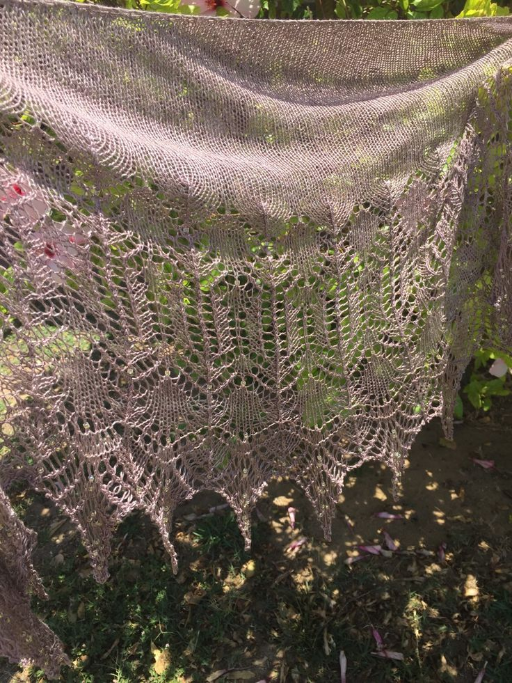 Beautiful knitted beaded silk shawl