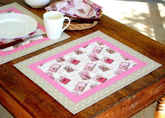 Quilted Placemats  Pink Grey Placemats  Fabric by RedNeedleQuilts