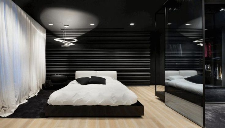 Bedroom, Enormous Frameless Mirror Wall Sleek Black Platform Bed Warm Fluffy White Blanket Contemporary Spiraled Ceiling Lamp Textured Tile: Color for Bedroom