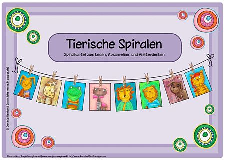 Unterrichtmaterial Deutsch Abschreibkartei - Tierische Spiralen