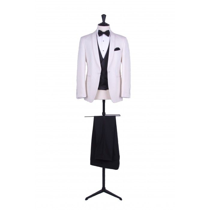 Grooms cream slim fit shawl collar dinner suit / tuxedo with black double breasted waistcoat and trousers