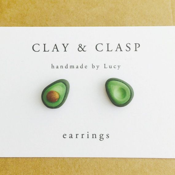 Avocado Earrings beautiful handmade polymer clay by ClayandClasp