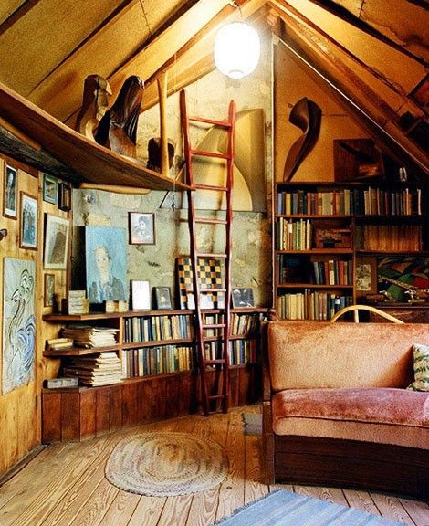 attic librarySpaces, Libraries Room, Dreams, Book Nooks, Living Room, Attic Room, House, Reading Room, Attic Library