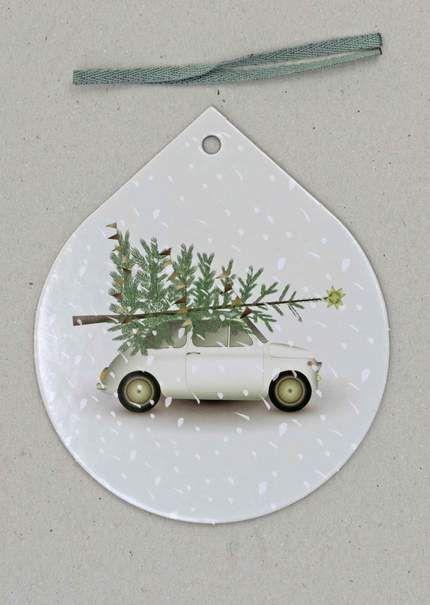 Julepynt fra Vissevasse med bil og juletræ