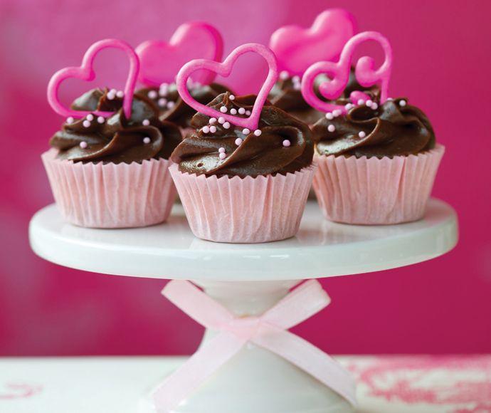 Chocolade cupcake met een hartje