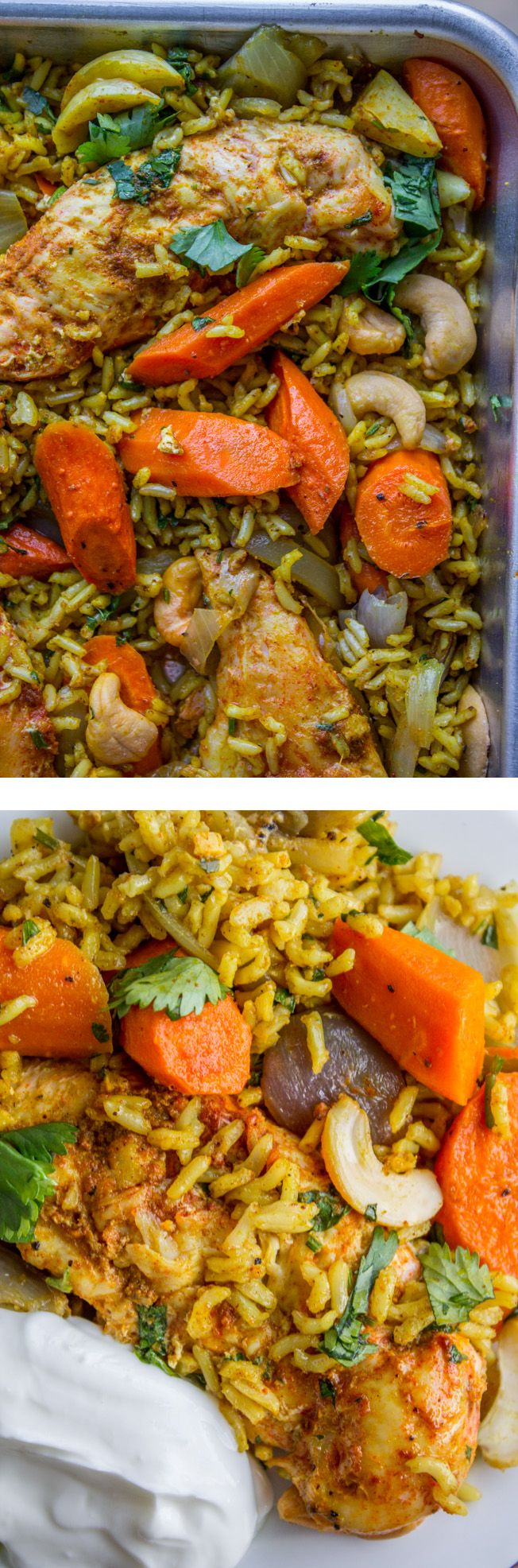 Sheet Pan Curry Chicken and Carrots with Basmati Rice (Biryani) from The Food Charlatan. This curry chicken and with carrots and basmati rice is made all on one sheet pan! It is so flavorful it will blow your mind. It's a perfect weeknight dinner for busy school days! It is so easy and has easy clean up too. Great back to school dinner! #curry #chicken