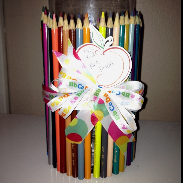 Pencil vase looked even better once all the kids put their own flower in it.