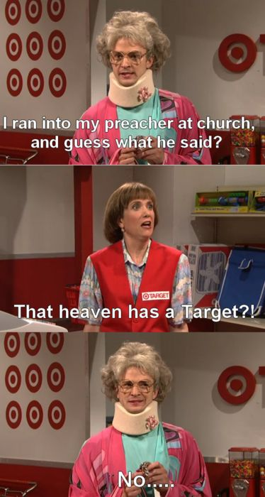 """""""The Target Lady""""  with her best friend """"Peg""""(Justin Timberlake)"""