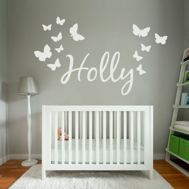 Personalised Name Wall Sticker with Butterflies - don't have to put butterflies on