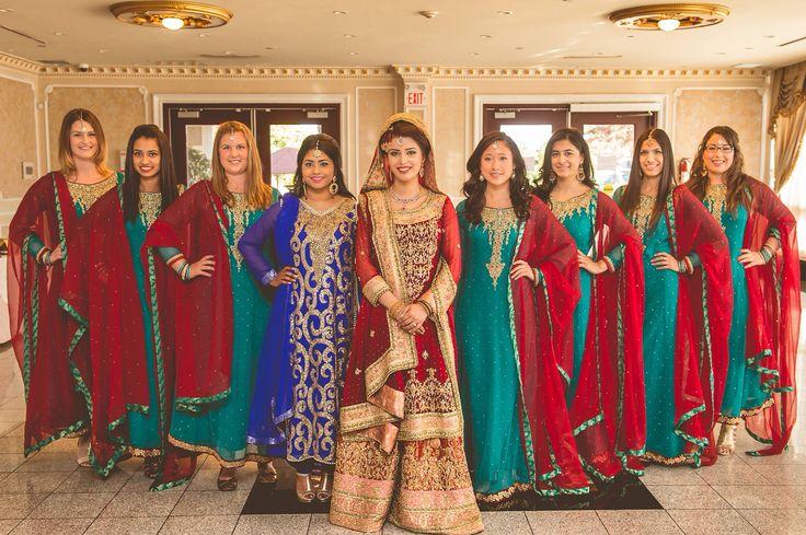 Pakistani bridesmaids from my wedding #teal #maroon