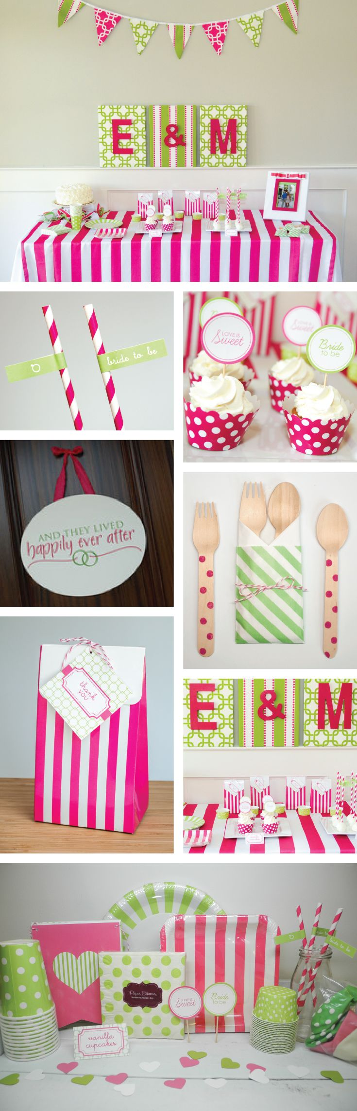 Pink and green preppy themed bridal shower and decorations | Pink and green tableware, linens, and decor in a party kit
