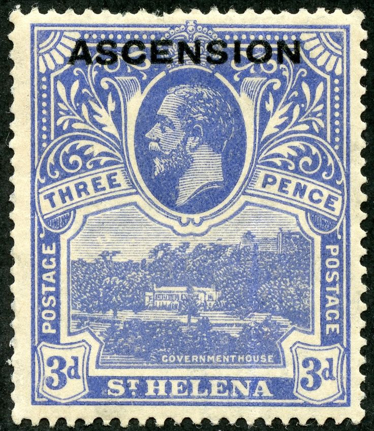 Ascension 1922 Scott 5 3d ultramarine Stamps and Types of St. Helena 1912-22 Overprinted