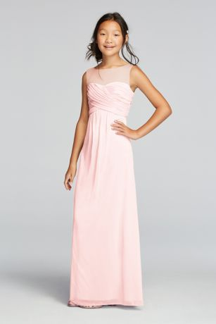 Simple and stylish, this long mesh dress is sure to look stunning on everyone in your bridal party!  High neck illusion tank bodice features beautiful ruched detail.  Flowy floor length mesh skirt prodives ultimate comfort.  Fully lined. Imported. Back zipper. Dry clean only.  Complements perfectly with Bridesmaid Style F15927.