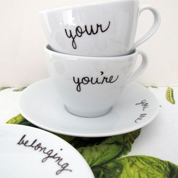 """Your/You're"" Teacups and Saucers 