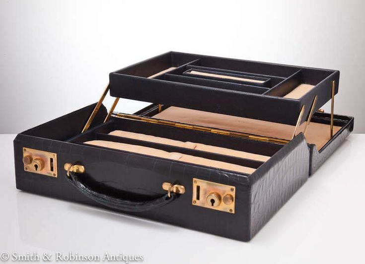 Finest Quality Traveling Crocodile Jewel Box English | From a unique collection of antique and modern jewelry boxes at http://www.1stdibs.com/furniture/more-furniture-collectibles/jewelry-boxes/